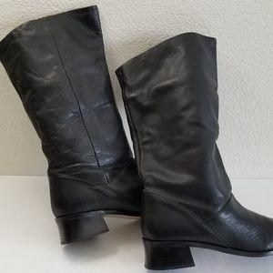 Zara Women's Black Leather Knee High Boots Size 9M